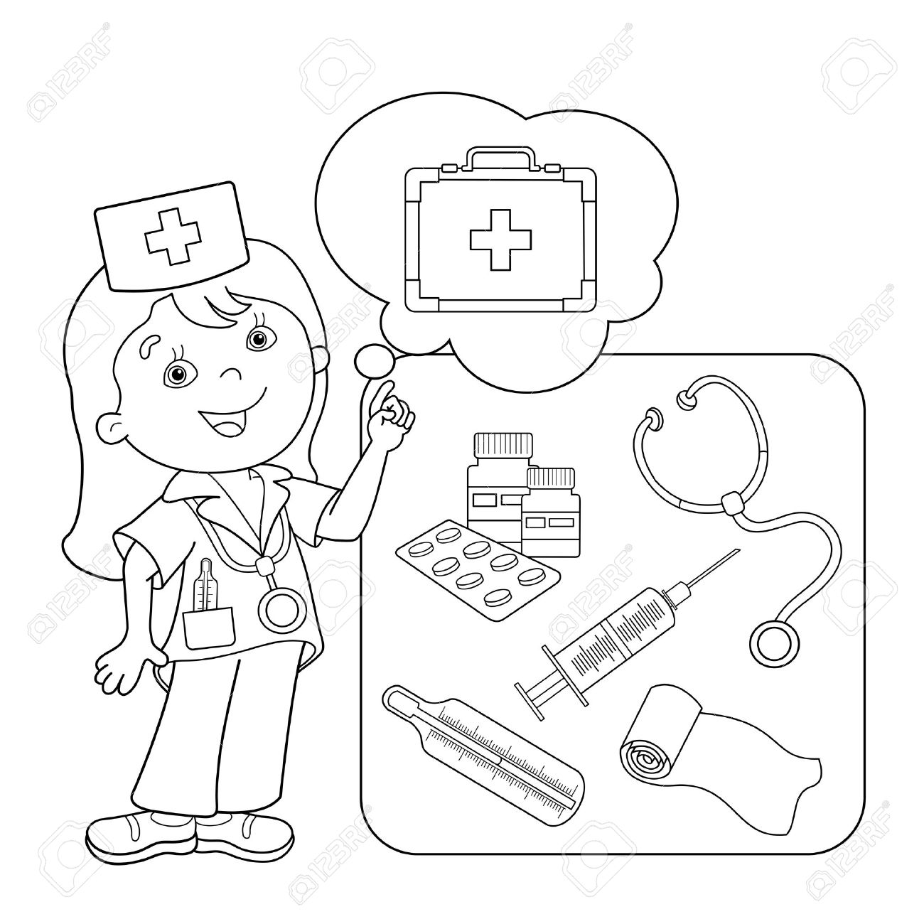 Coloring Page Outline Of Cartoon Doctor With First Aid Kit. Set ...