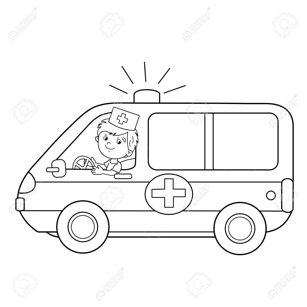Coloring Page Outline Of Cartoon Doctor With Ambulance Car ...