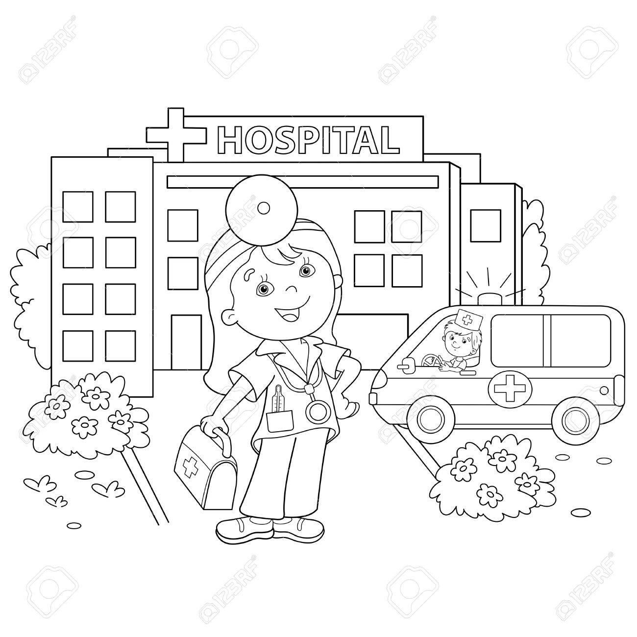 Free coloring pages hospital - Coloring Page Outline Of Cartoon Doctor With Ambulance Car Near The Hospital Profession Medicine