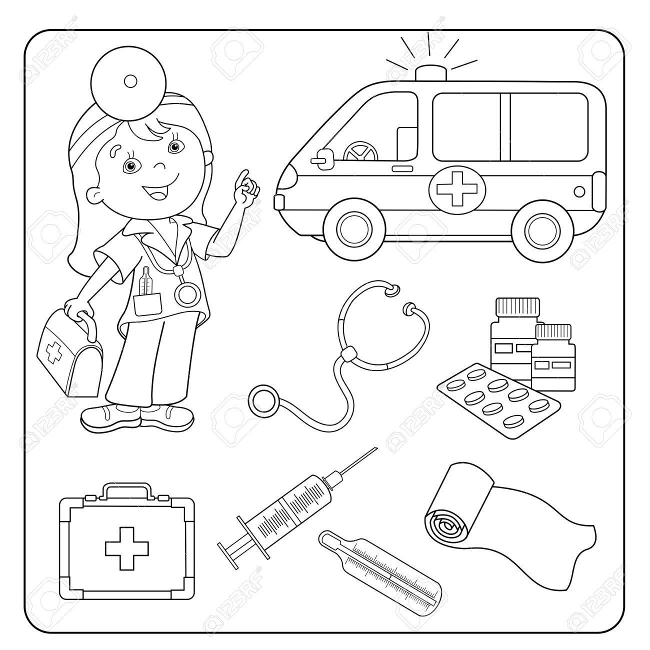 Coloring Page Outline Of Cartoon Doctor With First Aid Kit ...