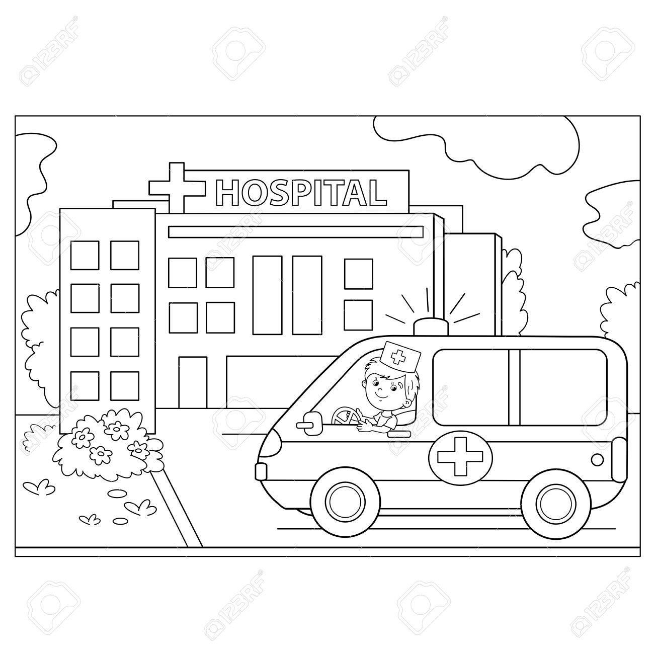 Página Para Colorear Esquema De Dibujos Animados Médico Con El Coche Ambulancia Cerca Del Hospital Profesión Medicina Libro De Colorear Para Niños