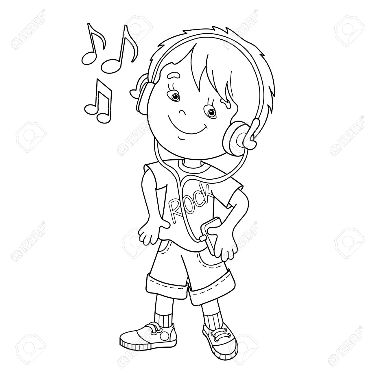 Coloring Page Outline Of Cartoon Boy In Headphones Listening ...