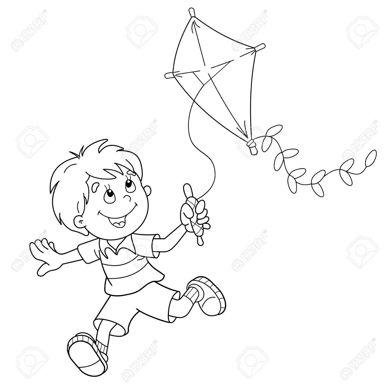 Coloring Page Outline Of Cartoon Boy Running With A Kite. Coloring ...