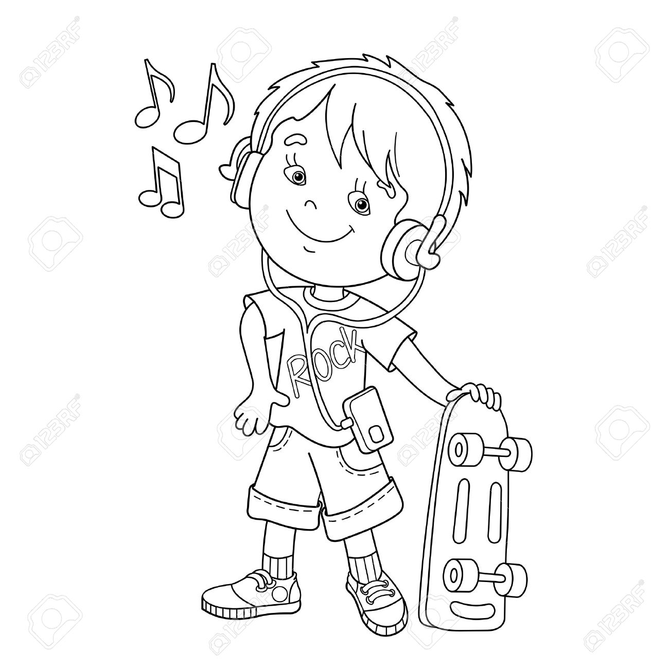 Coloring Page Outline Of Cartoon Boy In Headphones With Skateboard Listening To Music Book