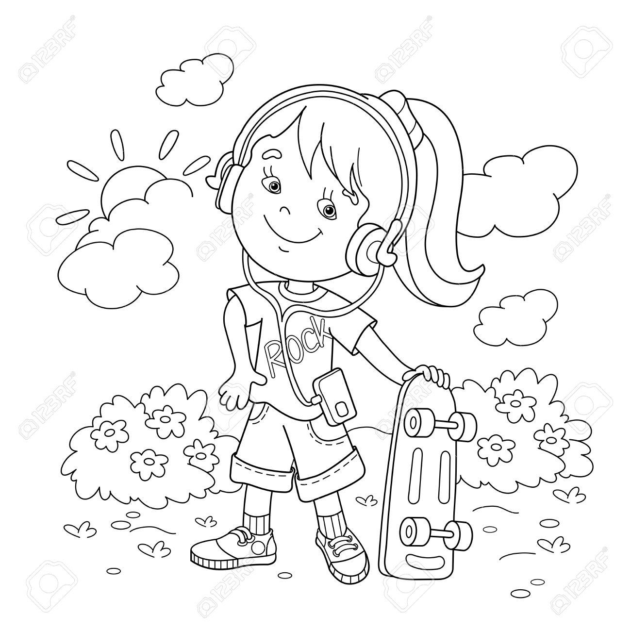 Página Para Colorear Esquema De Dibujos Animados Chica En Auriculares Con El Monopatín Libro De Colorear Para Niños