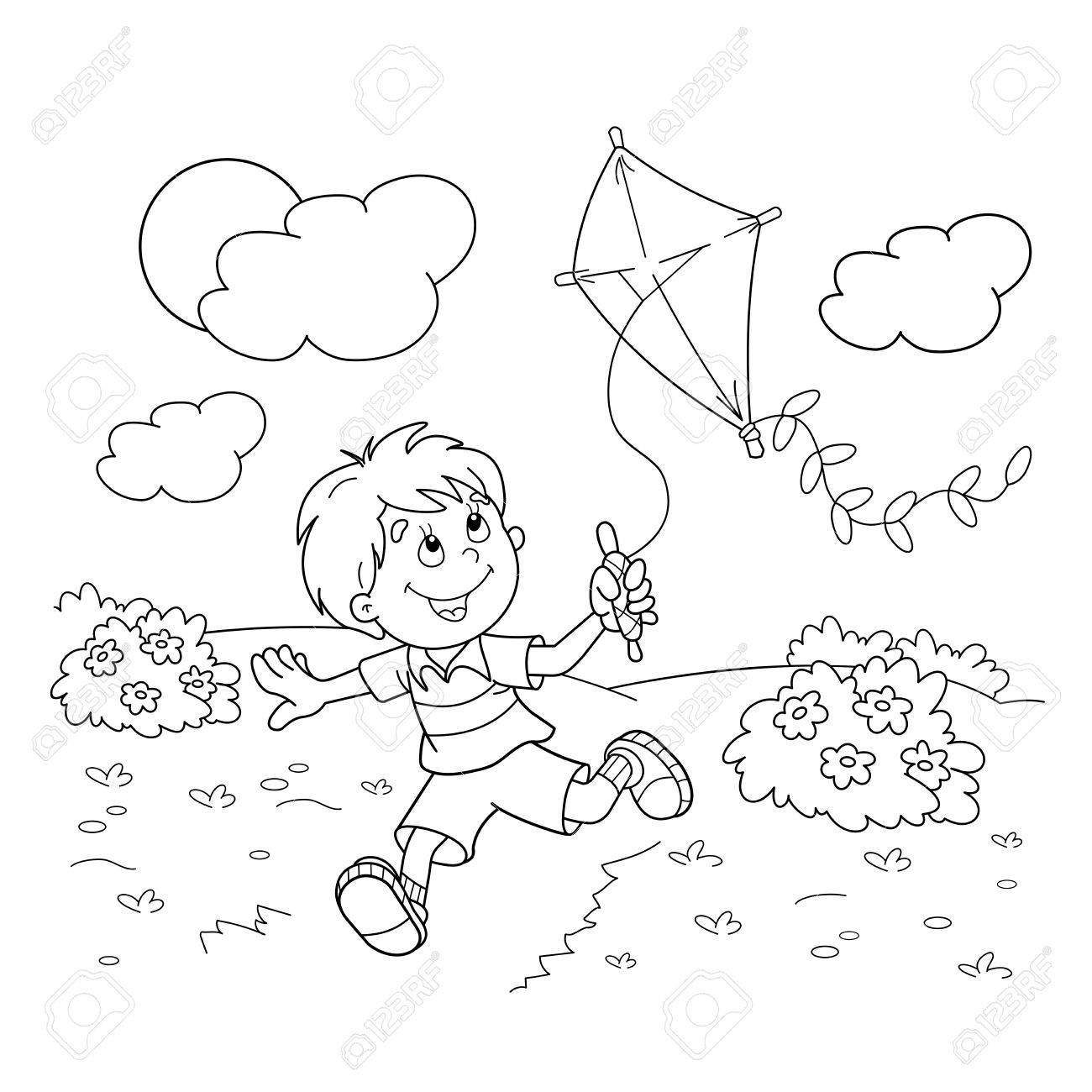 Coloring pages kite - Coloring Page Outline Of Cartoon Boy Running With A Kite Coloring Book For Kids Stock