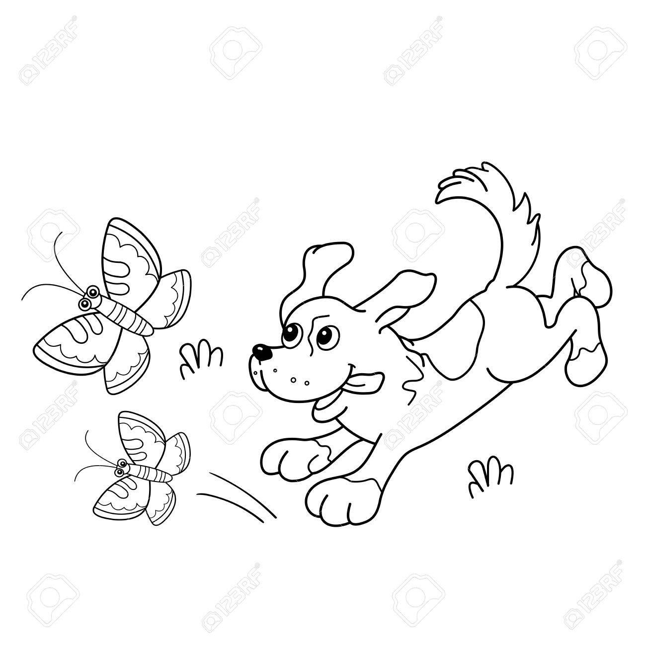 Página Para Colorear Esquema De Perro De Dibujos Animados Con Las
