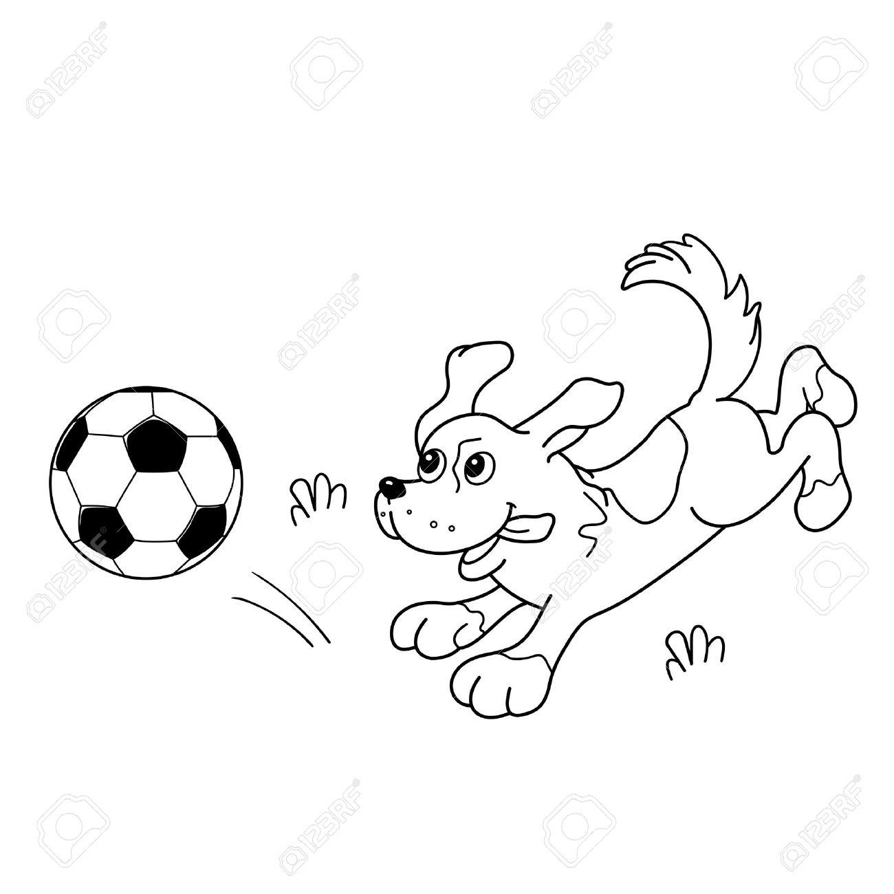 Página Para Colorear Esquema De Perro De Dibujos Animados Con Balón De Fútbol Libro De Colorear Para Niños