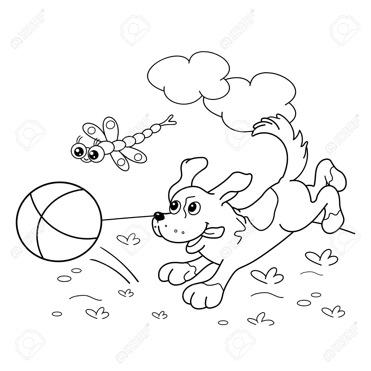 Coloring Page Outline Of Cartoon Dog With Ball And With Dragonfly ...