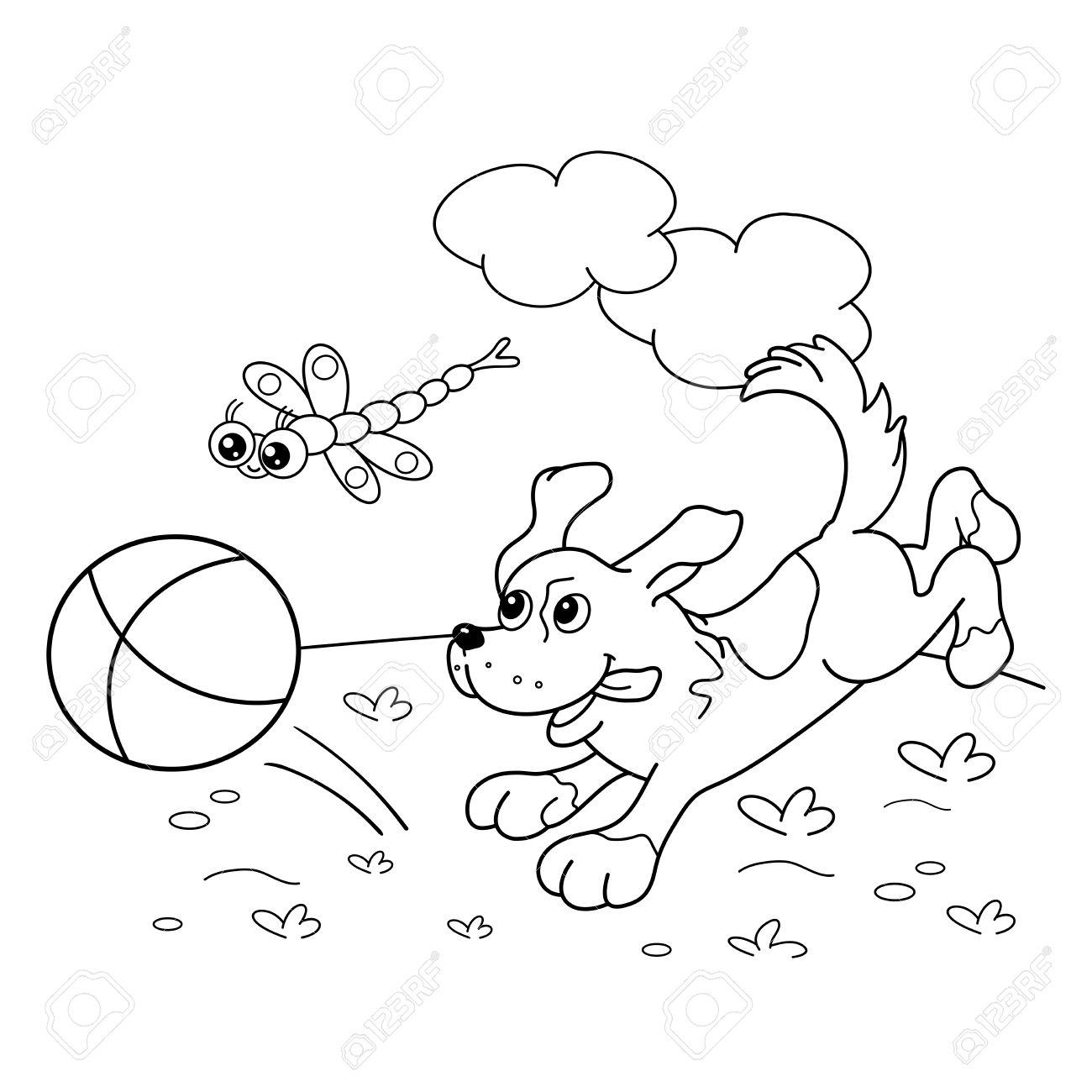 Página Para Colorear Esquema De Perro De Dibujos Animados Con La Pelota Y Con La Libélula Libro De Colorear Para Niños