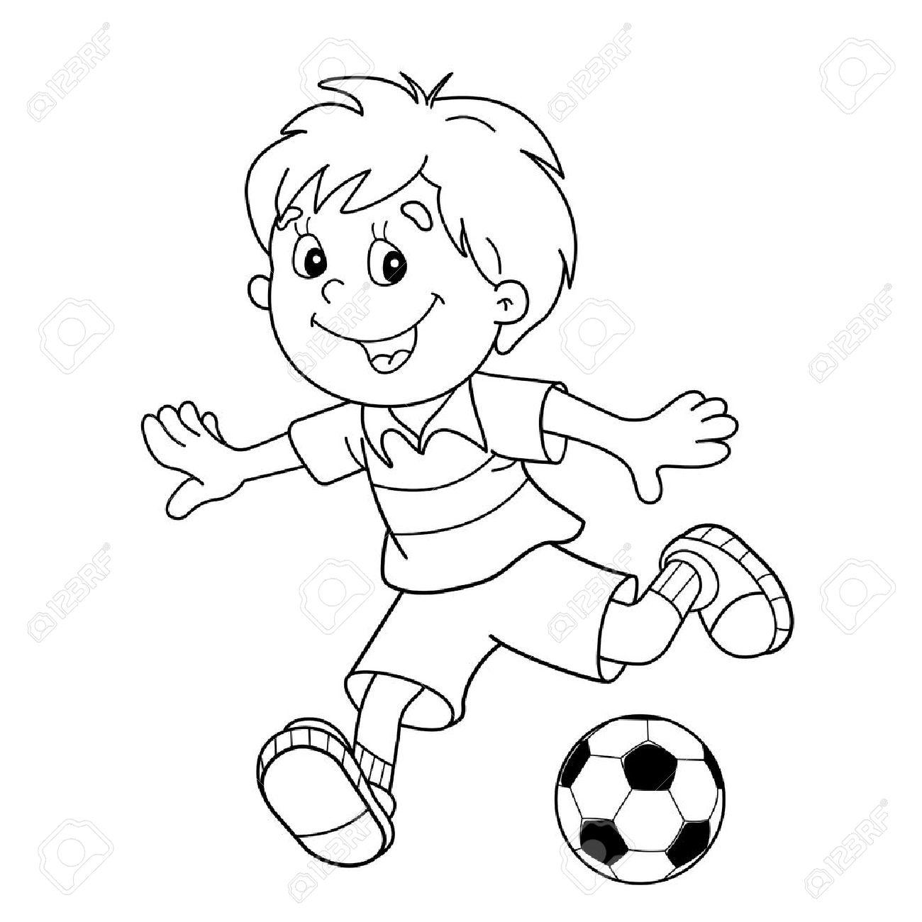 Página Para Colorear Esquema Del Niño De Dibujos Animados Con Un Balón De Fútbol Fútbol Libro De Colorear Para Niños