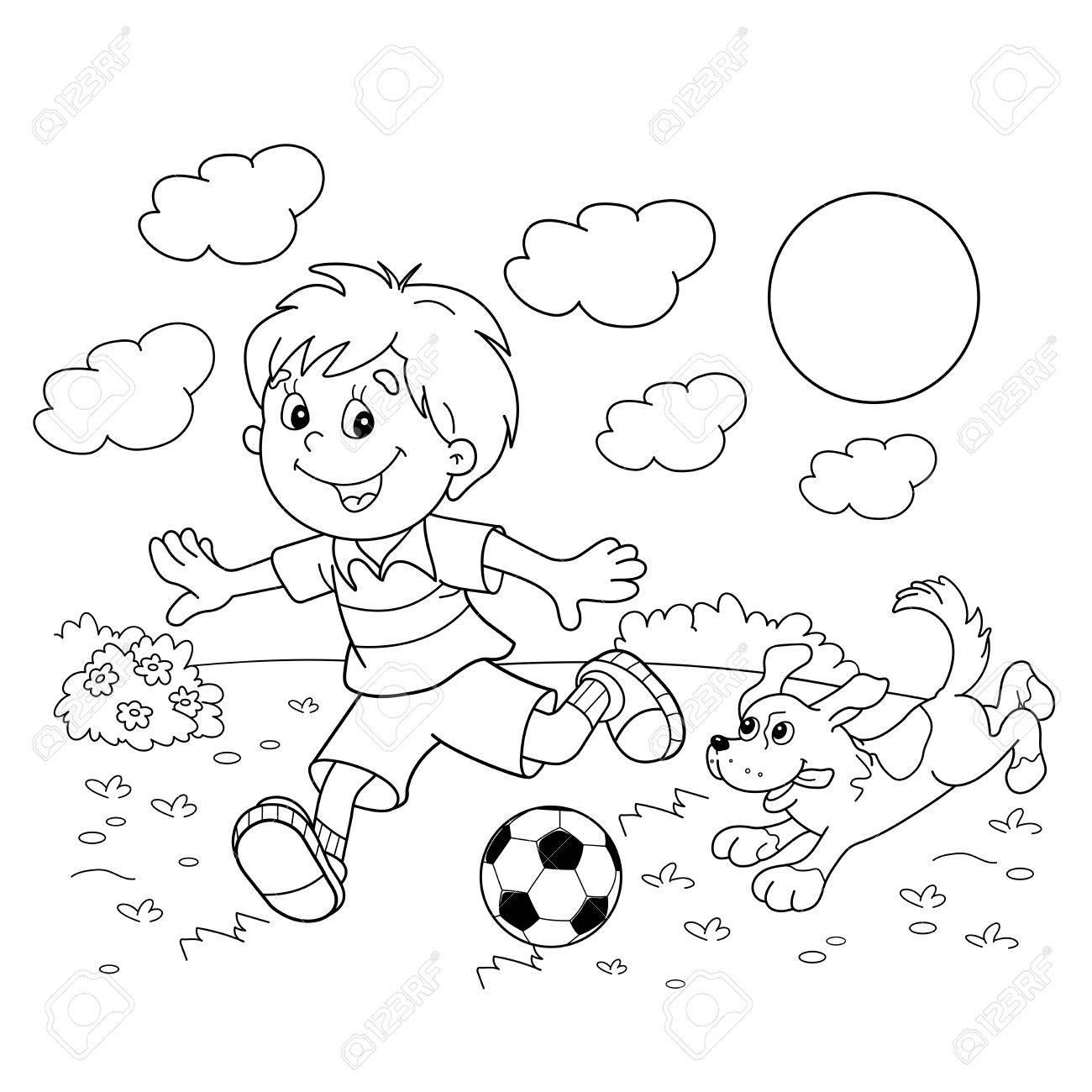Banque d images Coloriage Outline gar§on de bande dessinée avec un ballon de football avec un chien Football livre de coloriage pour les enfants