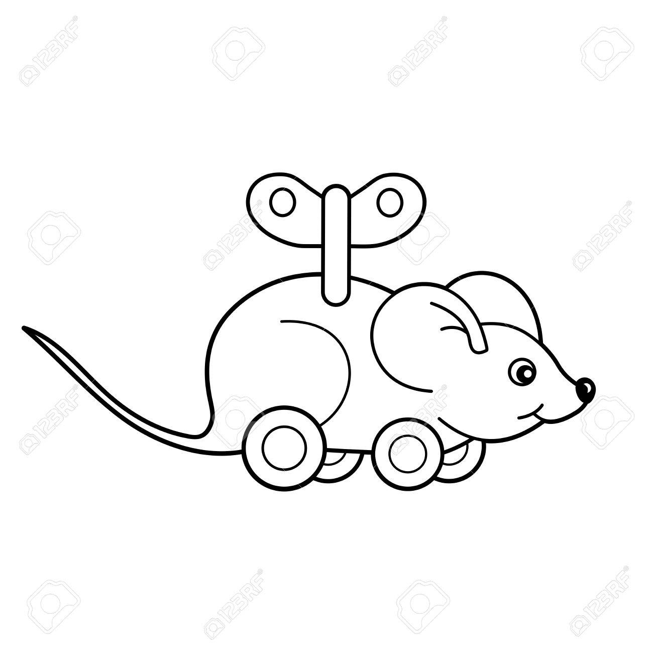 Coloring page outline of toy clockwork mouse coloring book for kids stock vector 67804679