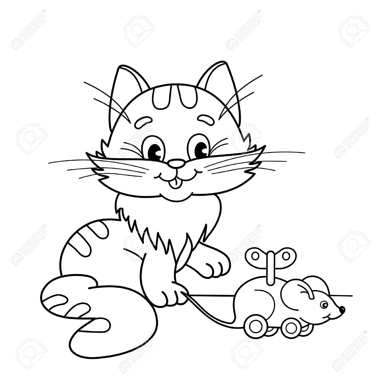 Coloring Page Outline Of Cartoon Cat With Toy Clockwork Mouse