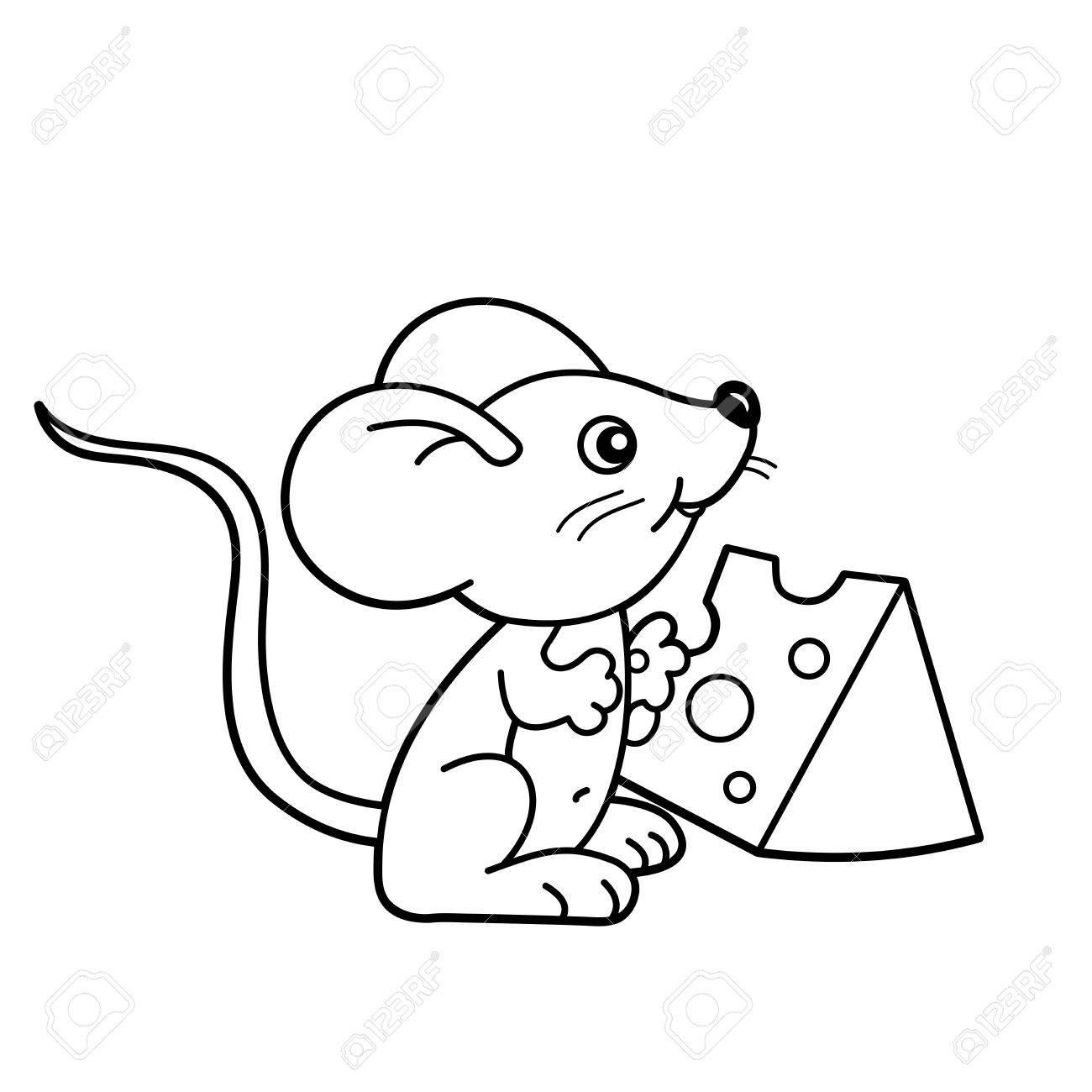 Página Para Colorear Esquema De Dibujos Animados Pequeño Ratón Con Queso Libro De Colorear Para Niños