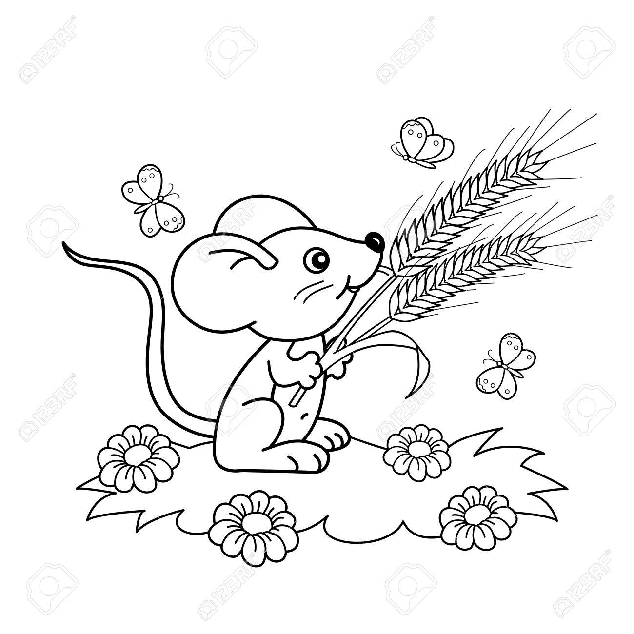 Coloring Page Outline Of Cartoon Little Mouse With Spikelets