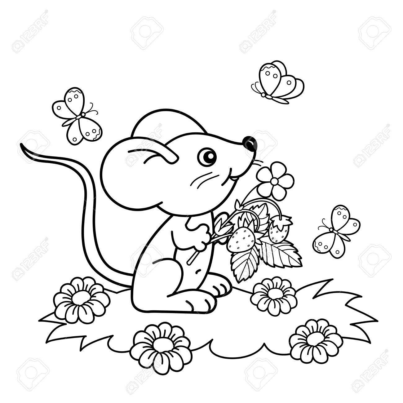 ぬりえページ概要の蝶と草原のイチゴと小さなマウスを漫画します子供の