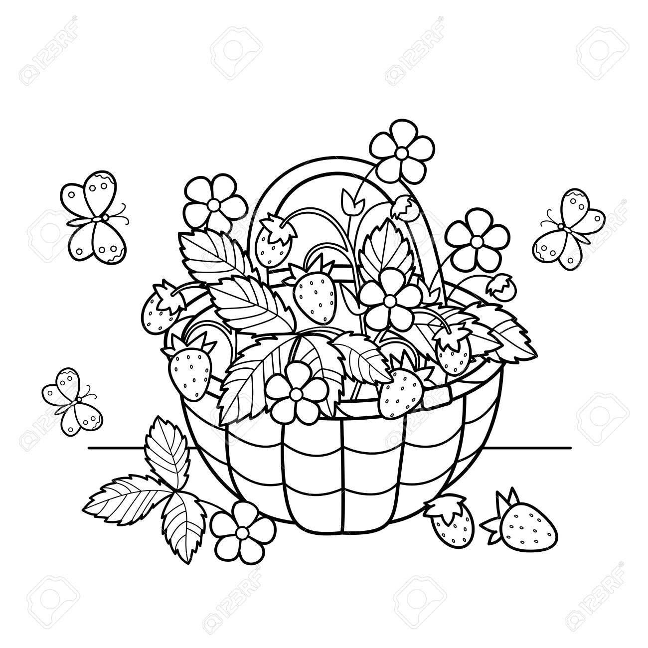 Coloring Page Outline Of Cartoon Basket Of Berries. Garden ...