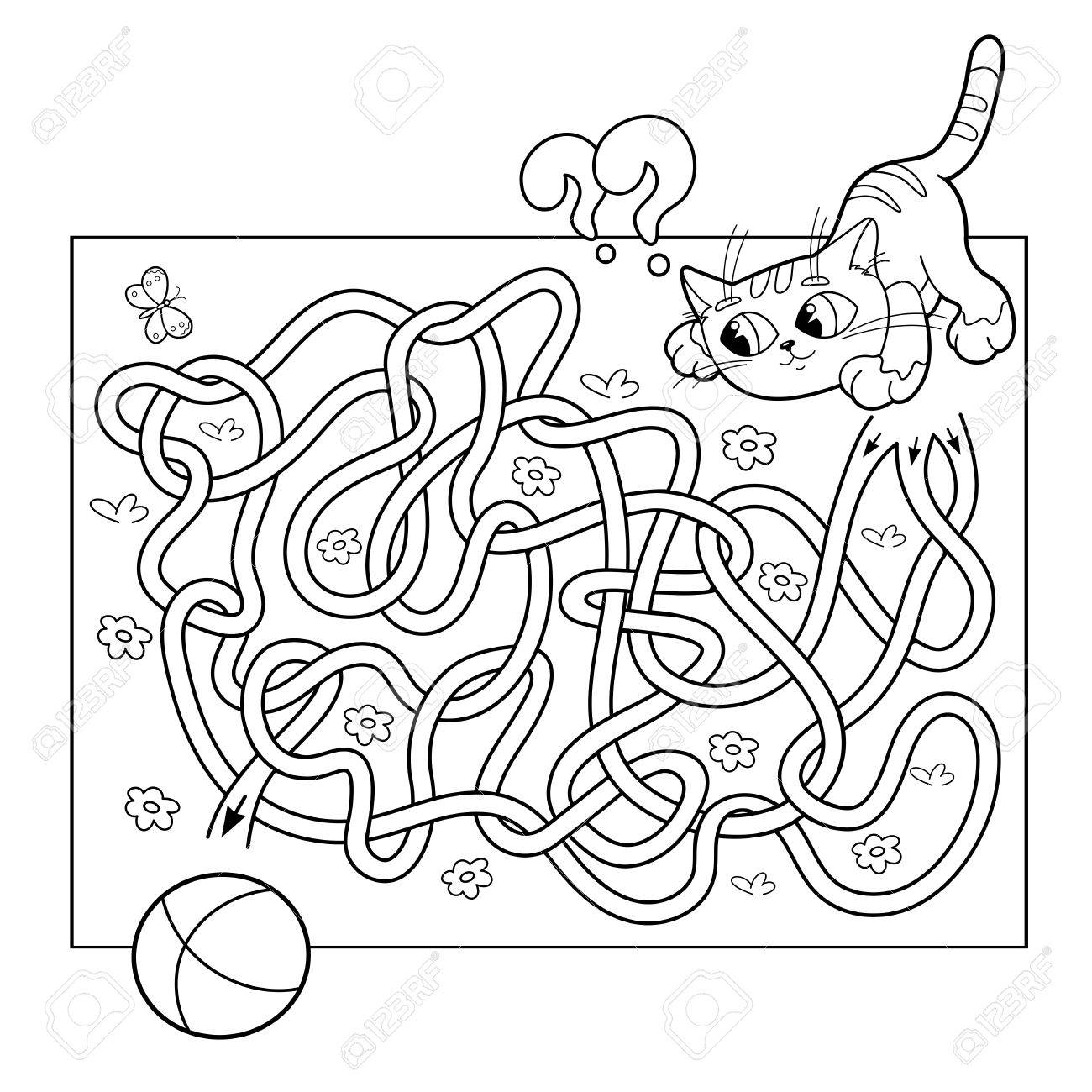 road coloring page. Cartoon Vector Illustration of Education Maze or Labyrinth Game for  Preschool Children Puzzle Tangled Of Or