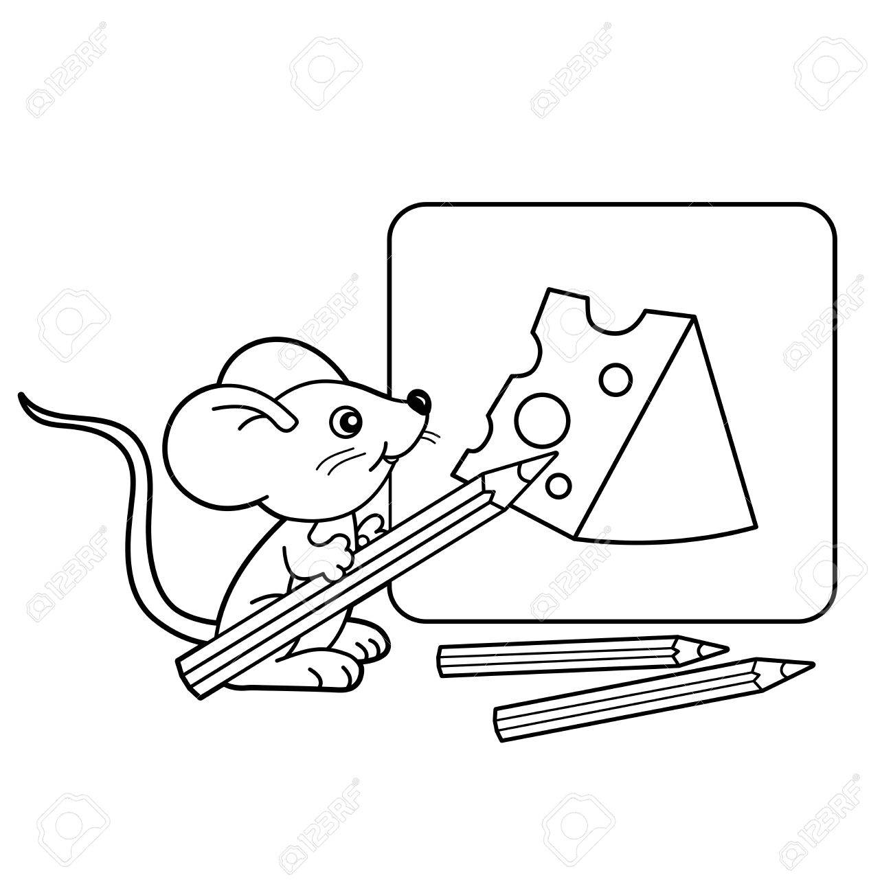 Coloring Page Outline Of Cartoon Little Mouse With Pencils Drawing Cheese Book For
