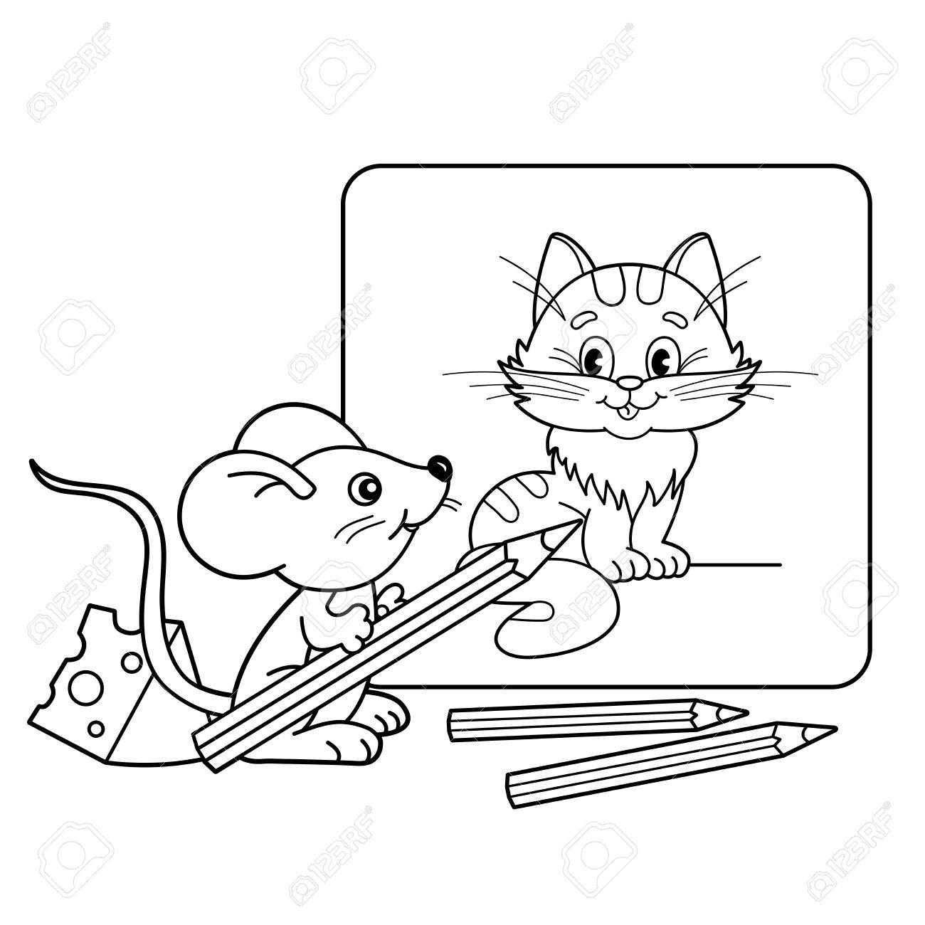 ぬりえページ概要の猫の写真と鉛筆と小さなマウスを漫画します子供の