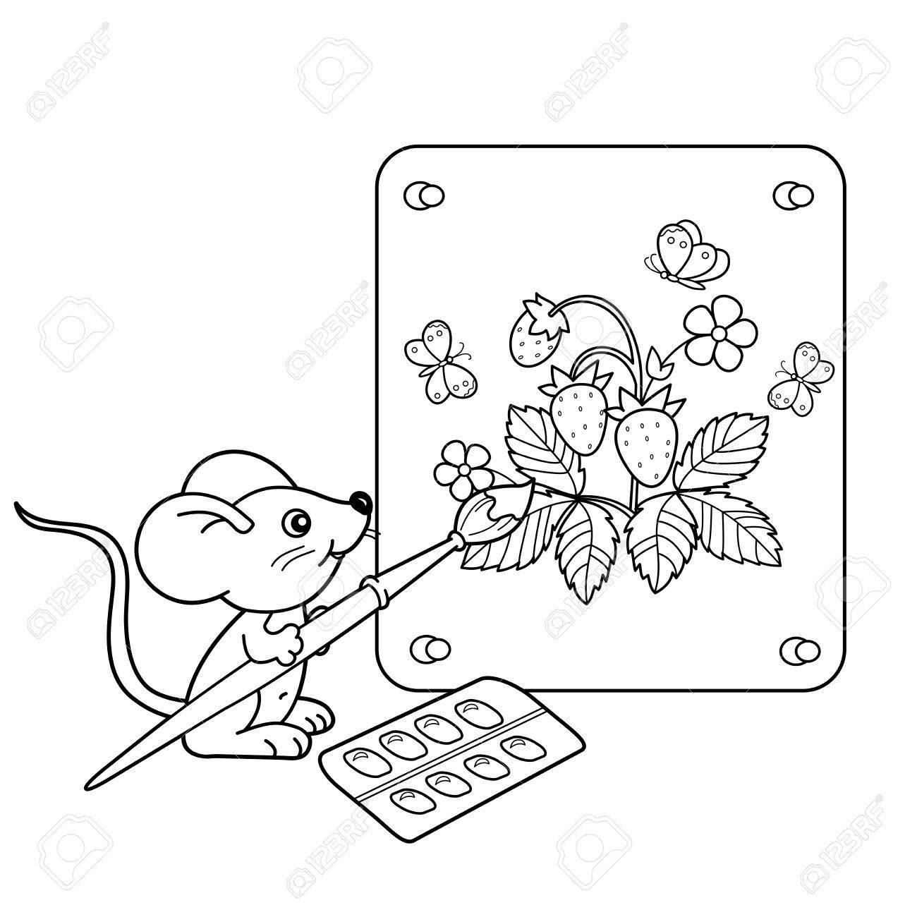 ぬりえページ概要のブラシと塗料のイチゴの画像と少しのマウスを漫画し