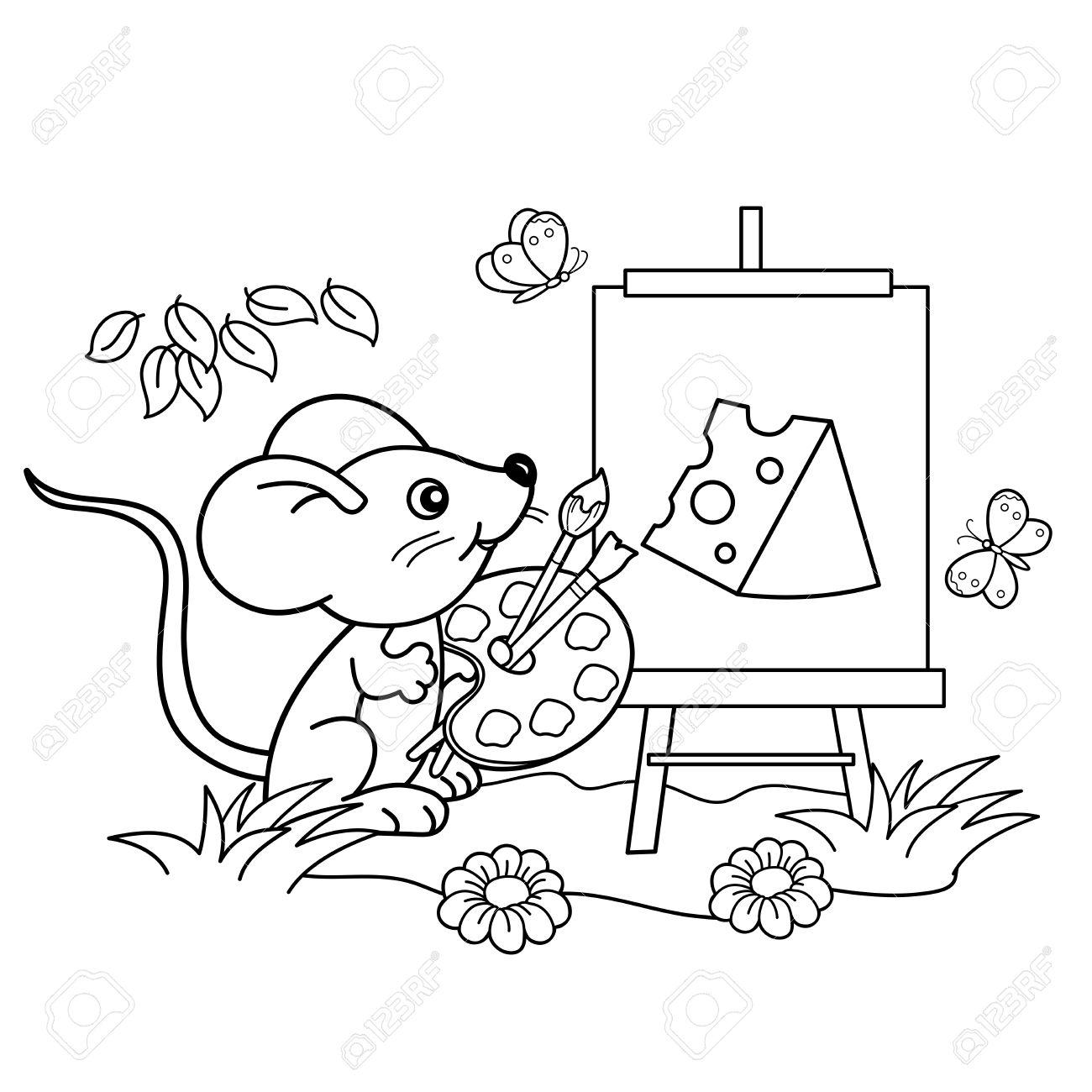 Coloring Seite Umriss Cartoon Kleine Maus Mit Einem Bild Von Käse ...
