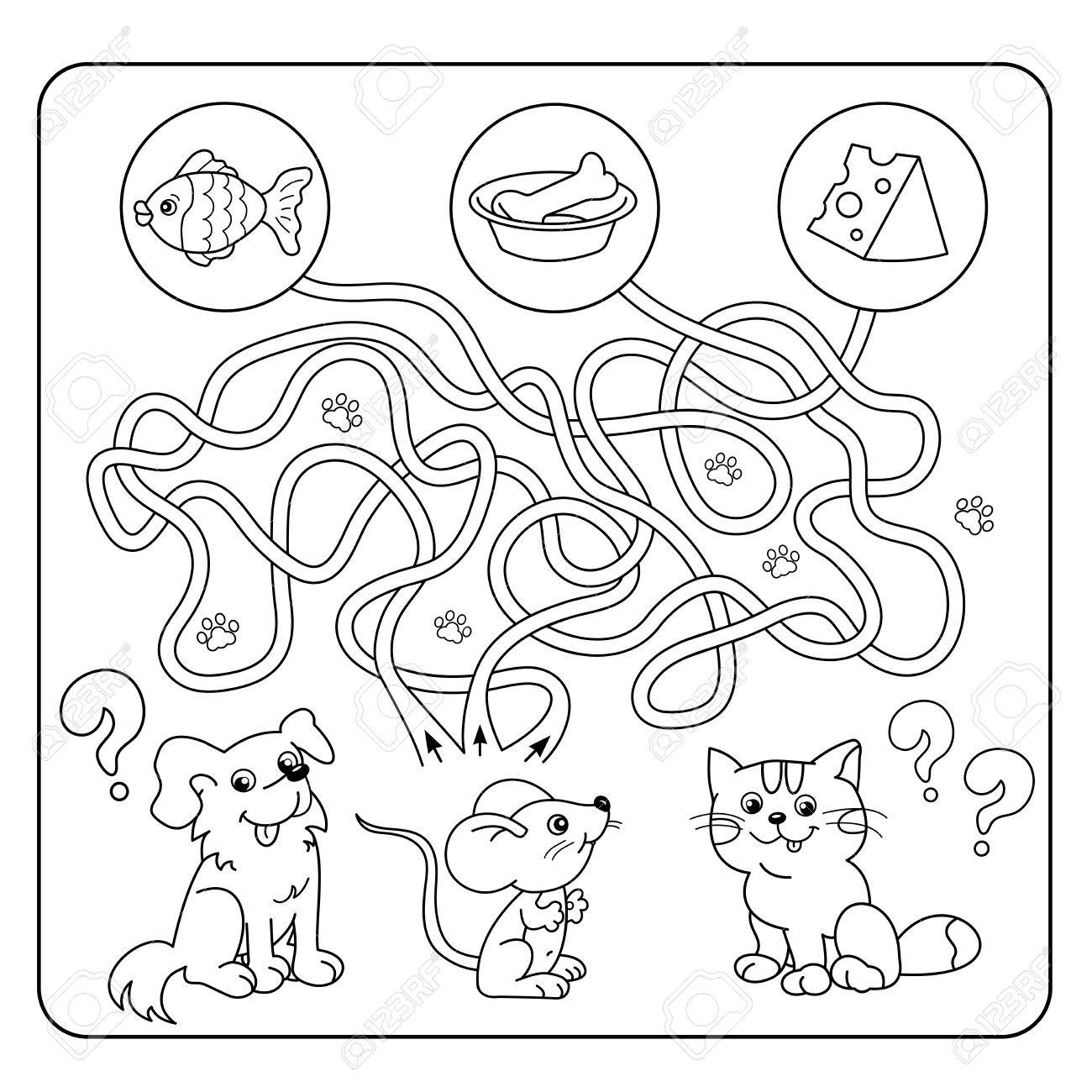 Maze Or Labyrinth Game For Preschool Children. Puzzle. Tangled ...