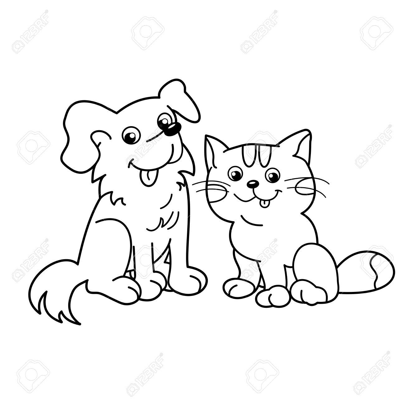 Nuevo Dibujos De Perros Y Gatos Para Colorear