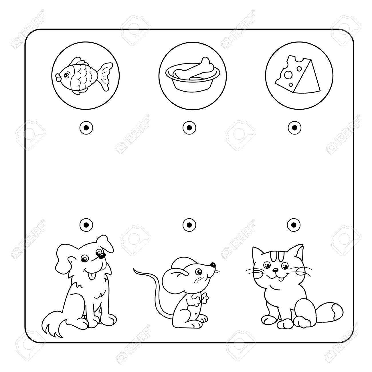 漫画の動物と好きな食べ物迷路や幼児用迷路ゲームパズルもつれた道
