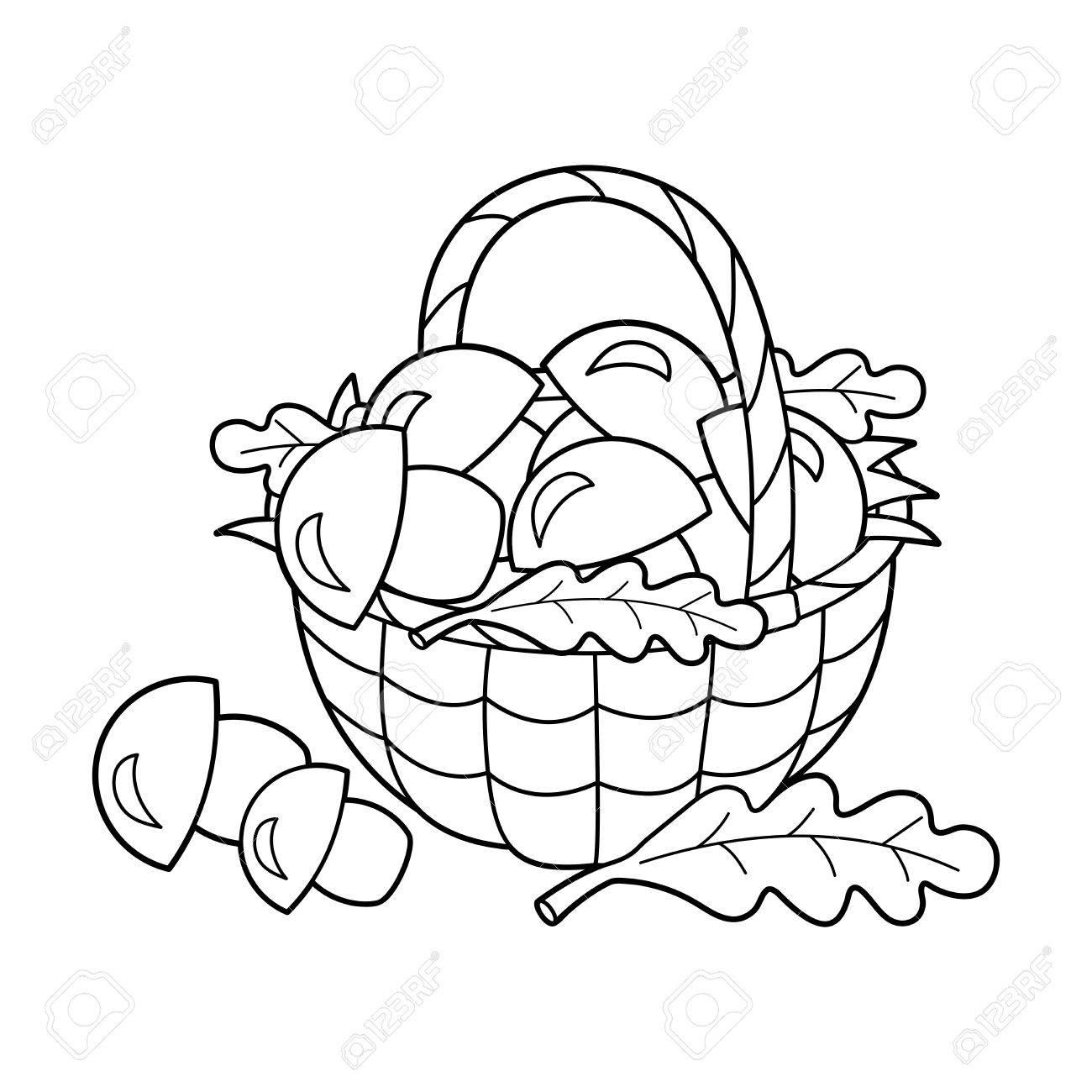 Coloring Page Outline Of Basket Of Mushrooms. Summer Gifts Of ...