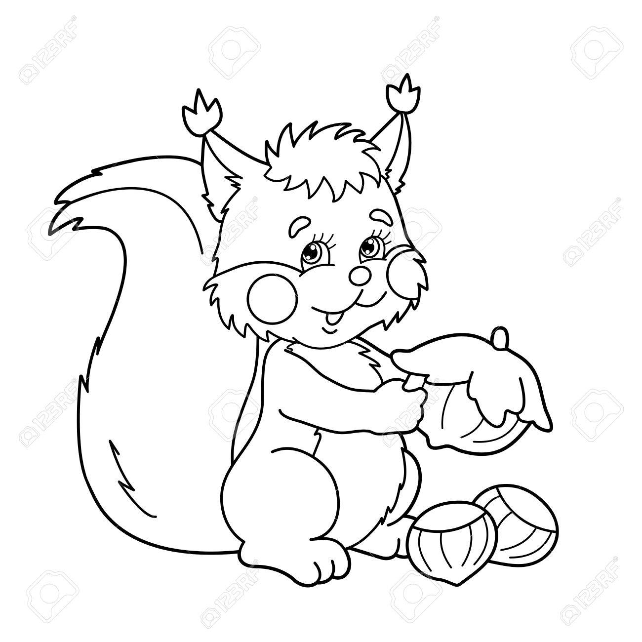 Coloring Page Outline Of Cartoon Squirrel With Nuts. Coloring ...