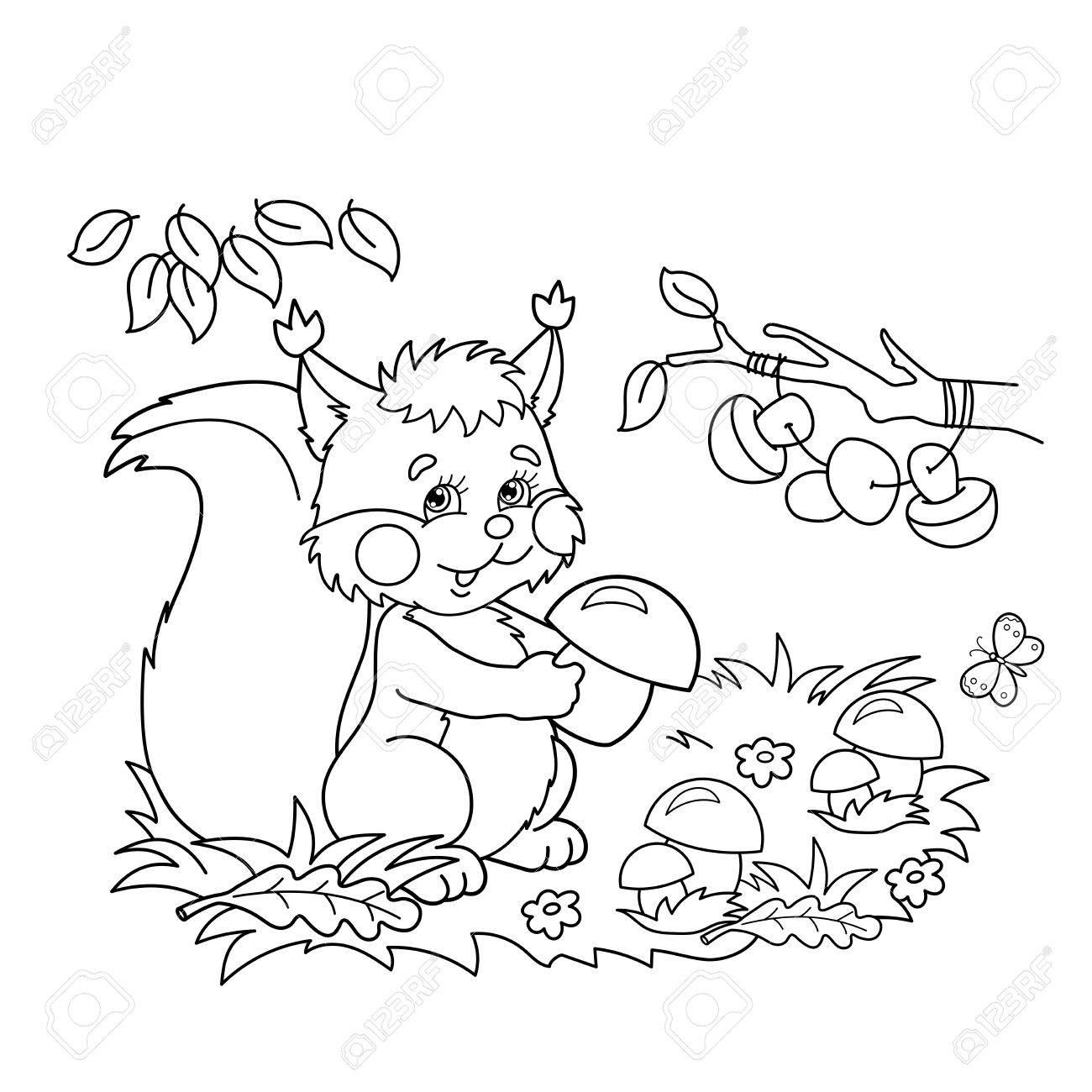 ぬりえページ概要の漫画とリス キノコと蝶の牧草地子供のための塗り絵