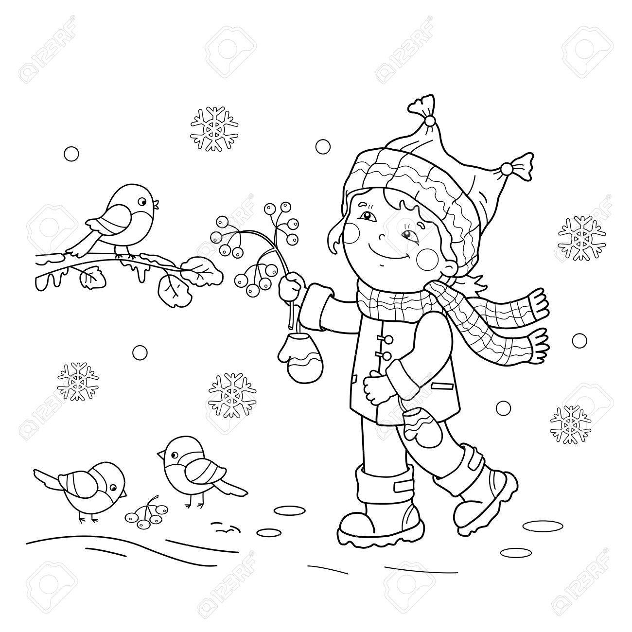 Coloring Page Outline Of girl feeding birds. Winter. Coloring..
