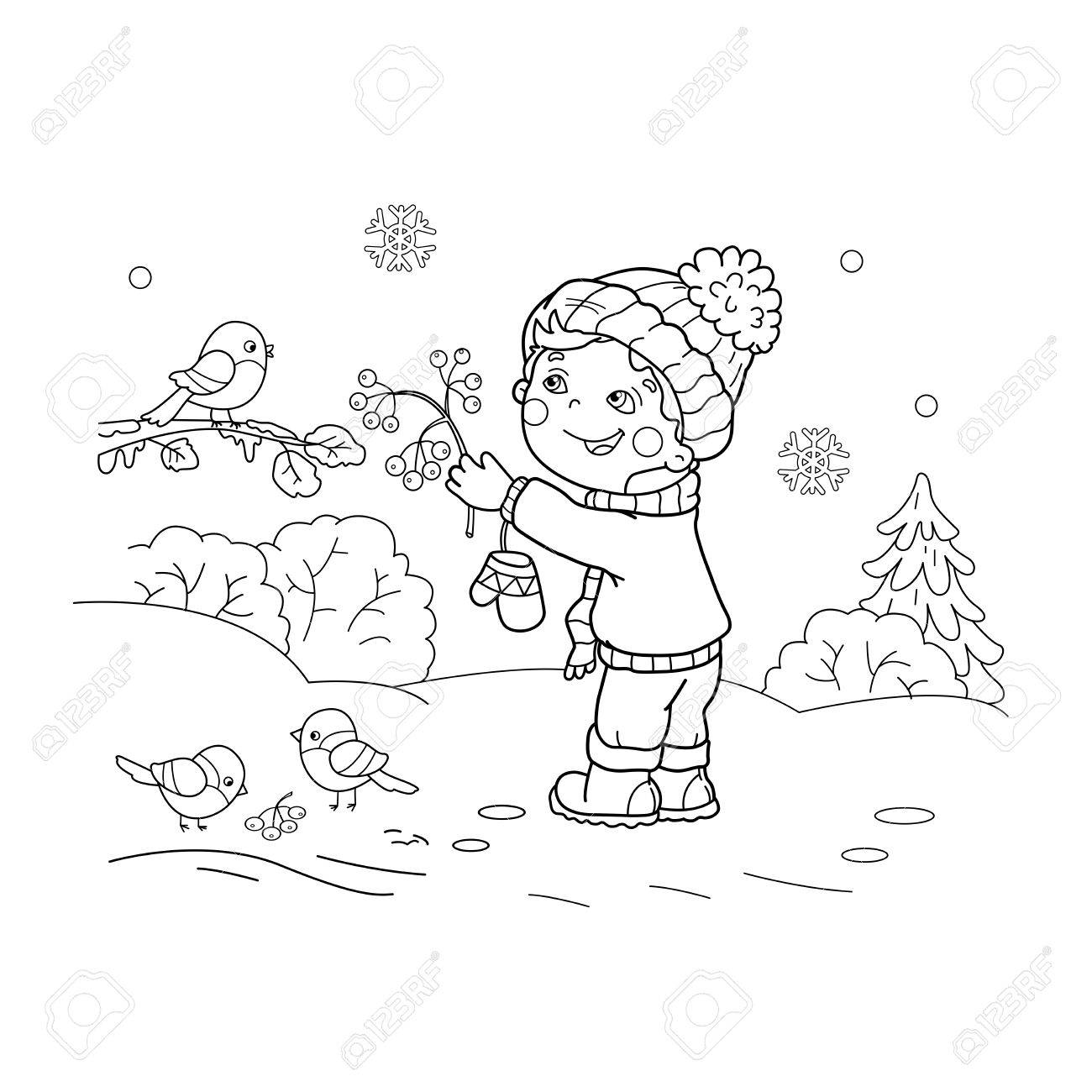 Coloring Page Outline Of boy feeding birds. Winter. Coloring..