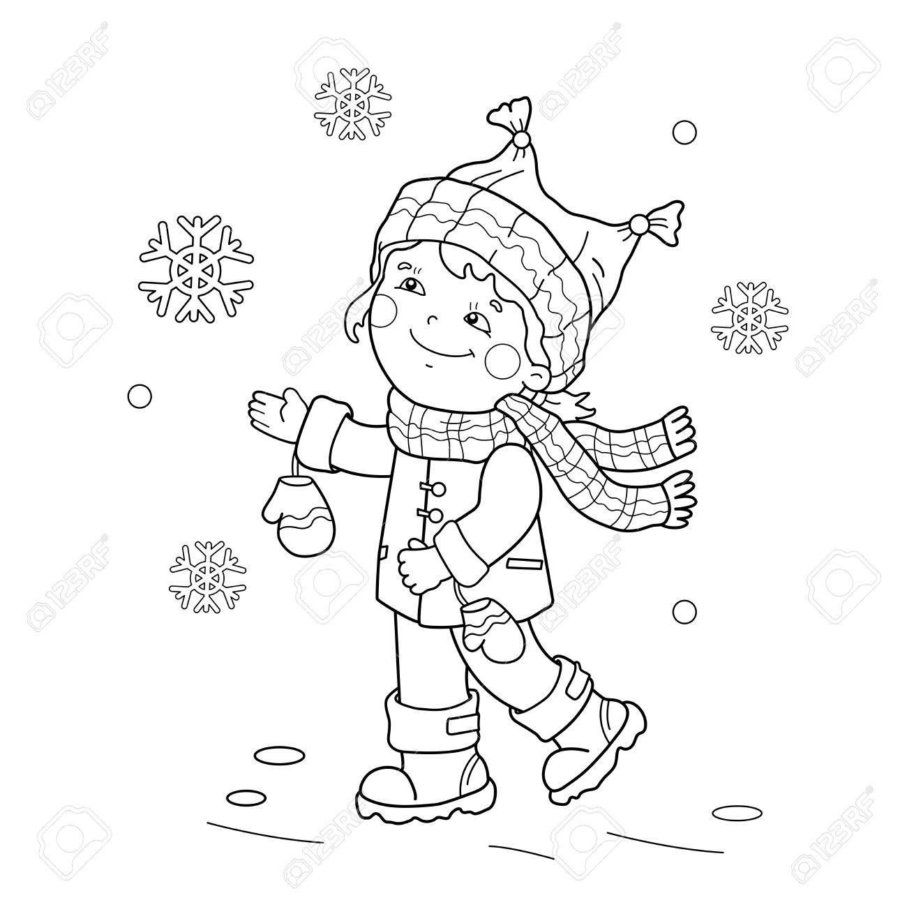 Página Para Colorear Esquema De Niña De Dibujos Animados Regocijo En La Nieve Por Primera Vez Invierno Libro De Colorear Para Niños
