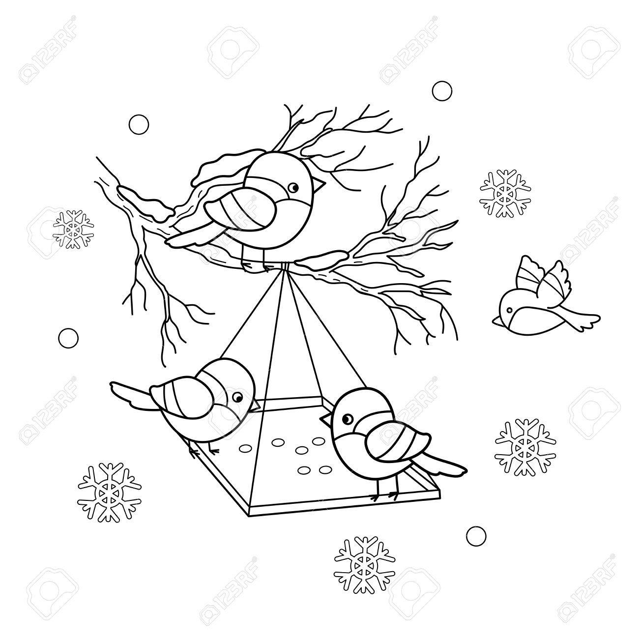ぬりえページ概要漫画鳥の冬鳥の送り装置ウソシジュウカラスズメ