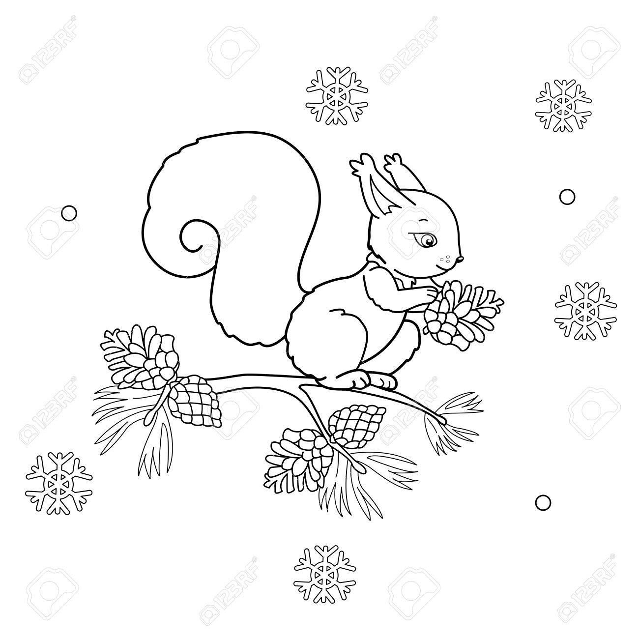 Coloring Page Outline Of Cartoon Squirrel With Cone. Winter ...