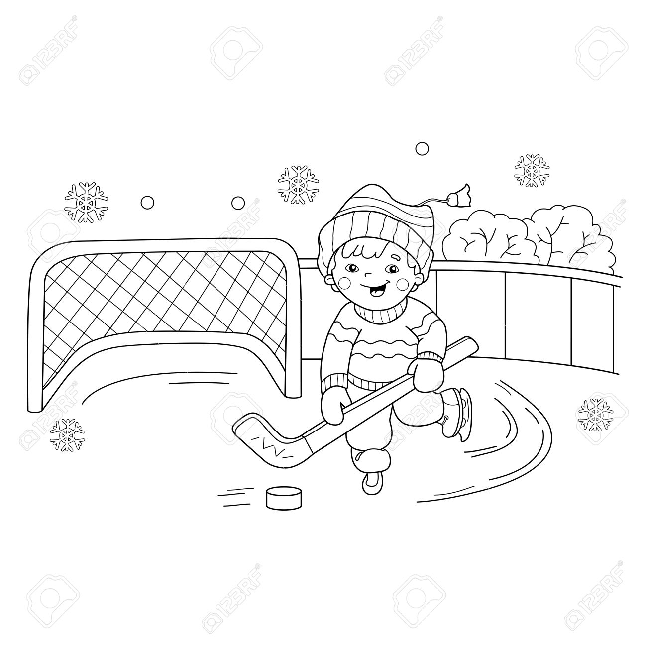 coloring page outline of cartoon boy playing hockey winter sports playground coloring book - Free Playground Coloring Pages