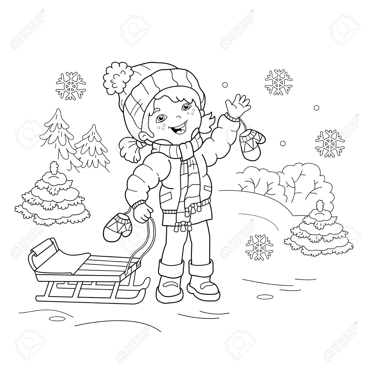 Coloring Page Outline Of Cartoon Girl With Sled. Winter. Coloring ...