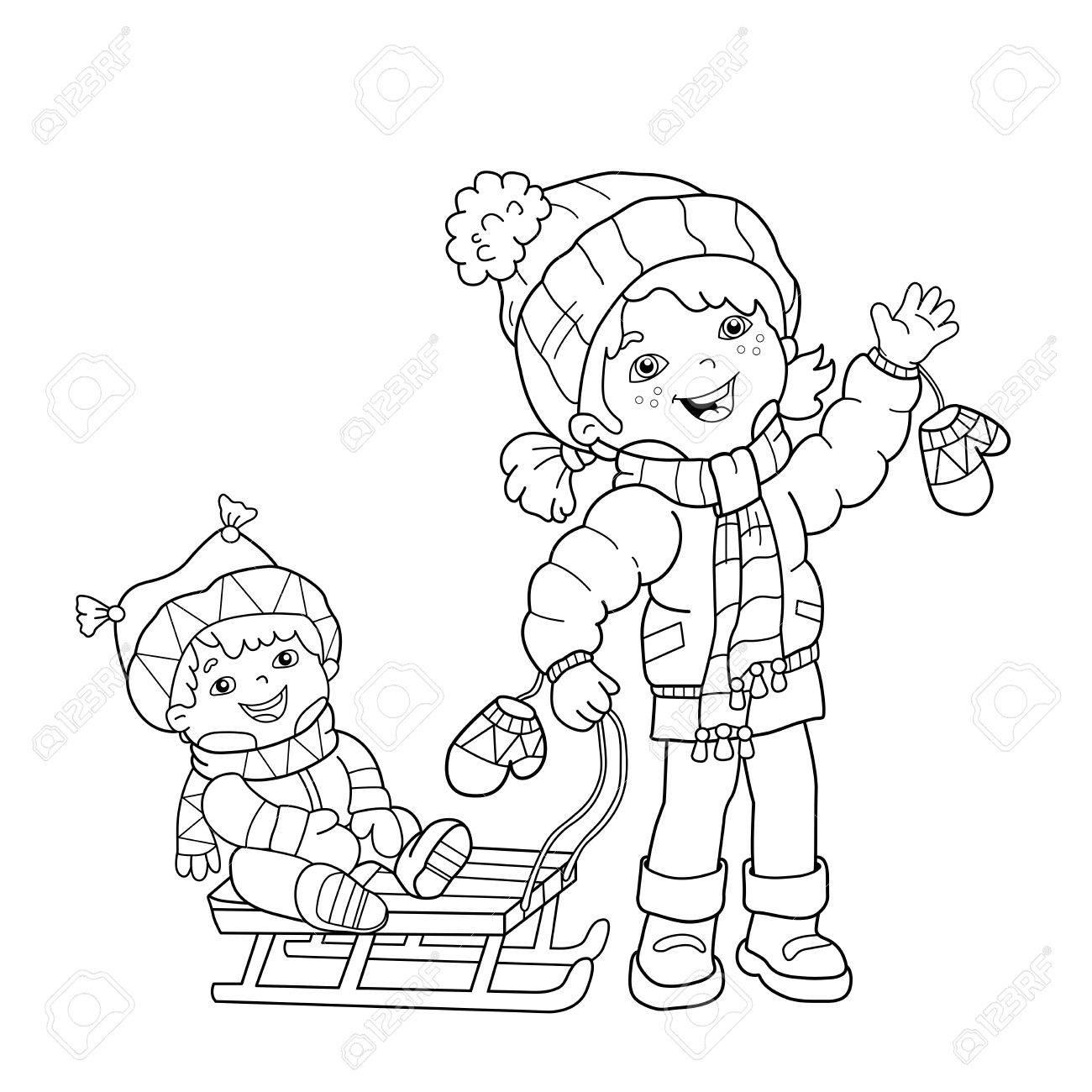 Kleurplaten Winter Slee.Kleurplaat Overzicht Van Cartoon Meisje Met Broer Sleeen Winter Kleurboek Voor Kinderen