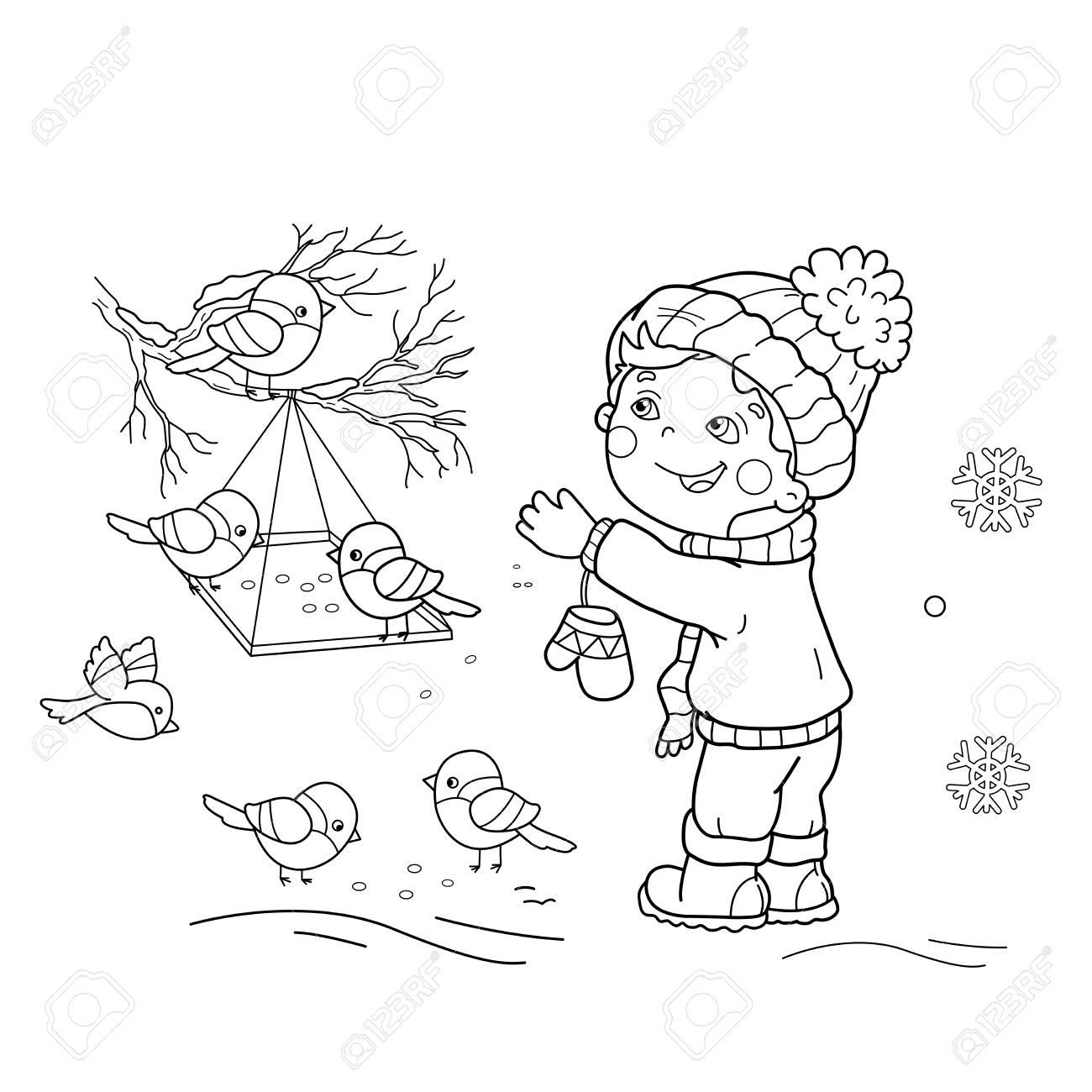 ページ概要の漫画少年摂食鳥のぬりえ鳥の送り装置冬子供のための