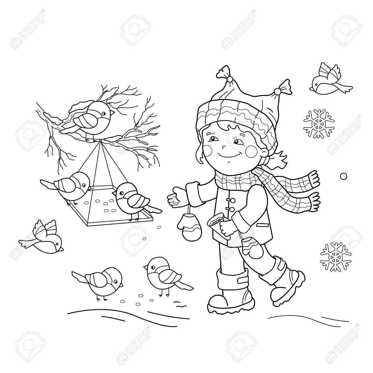 coloring page outline of feeding birds bird feeder winter