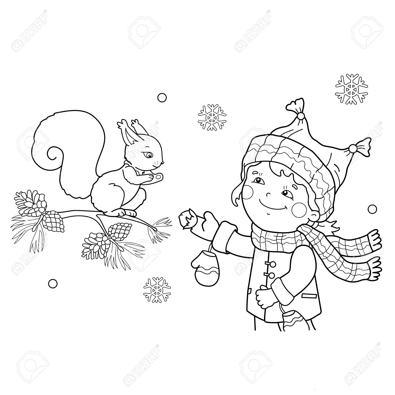 Coloring Page Outline Of Girl Feeding A Squirrel. Winter. Wild Animals.  Coloring Book