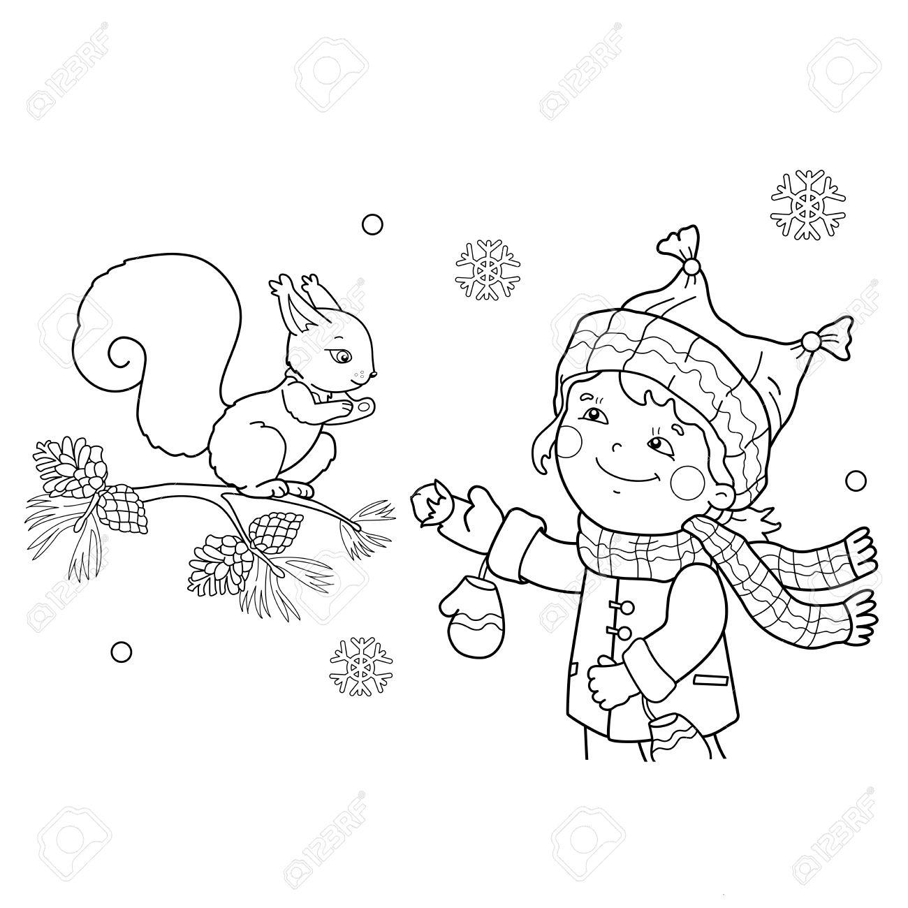 Página Para Colorear Esquema De Niña Alimentar Una Ardilla. Invierno ...