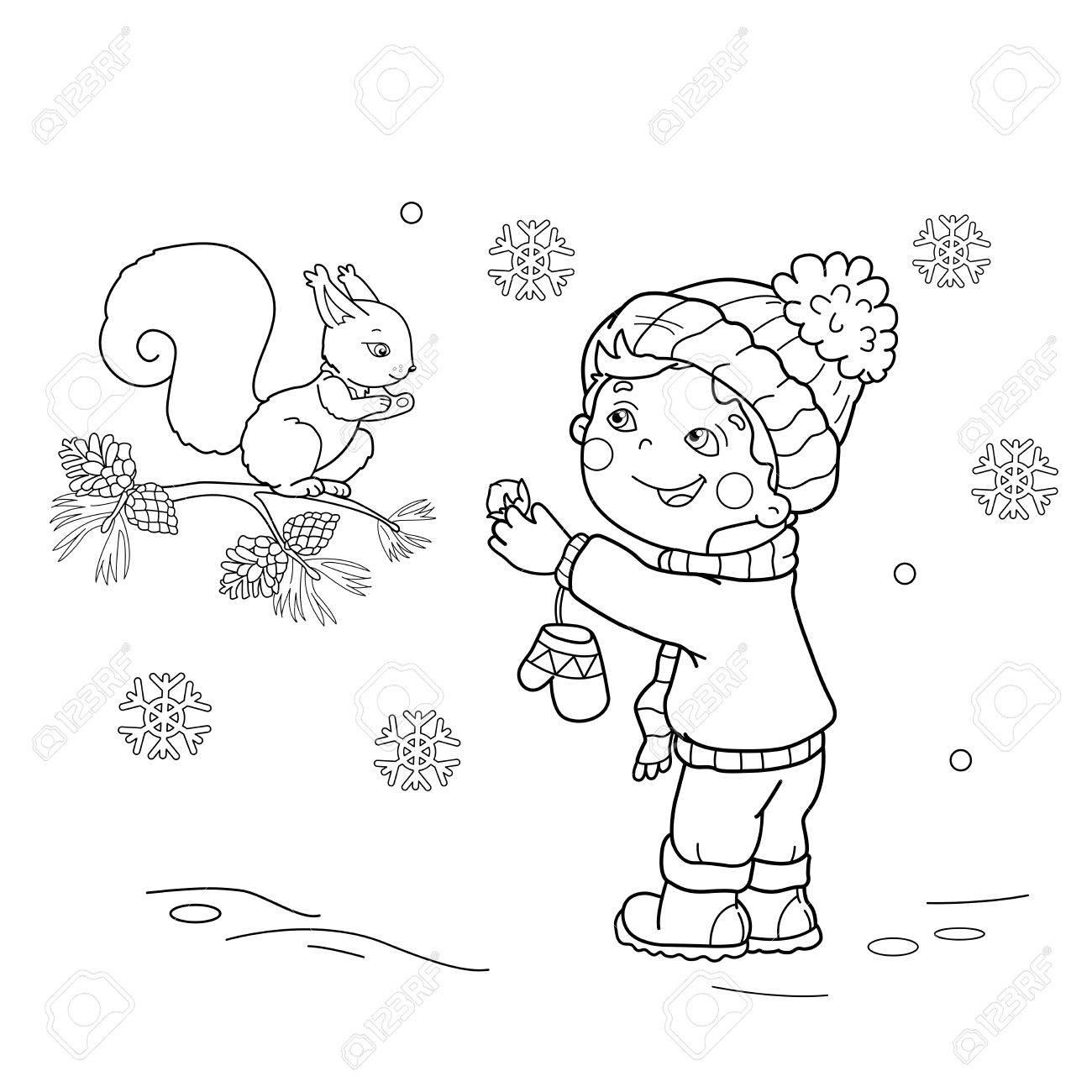 Página Para Colorear Esquema Del Niño De Dibujos Animados Alimentar ...