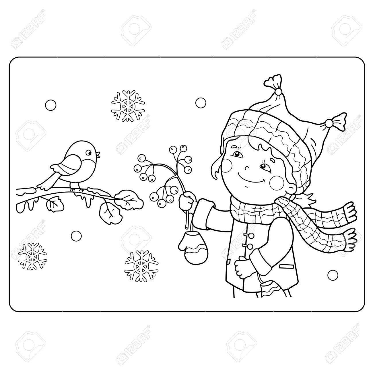 Coloring Page Outline Of Cartoon Girl Feeding Birds Winter Book For Kids Stock