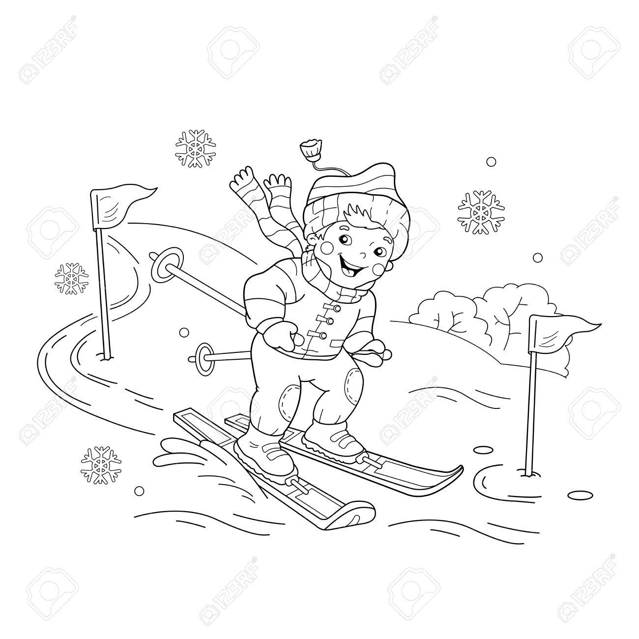 coloring page outline of boy riding on skis winter sports coloring book for kids - Sports Coloring Book