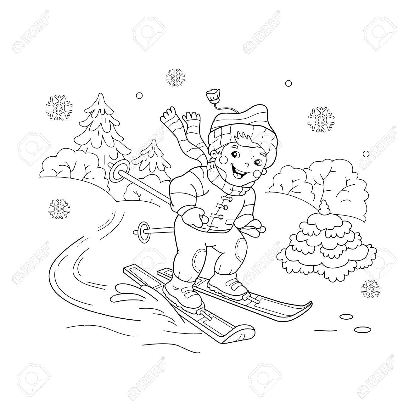 Coloriage Cheval Hiver.Coloriage Contour De Bande Dessinee Garcon A Cheval Sur Les Skis Sports D Hiver Livre De Coloriage Pour Les Enfants
