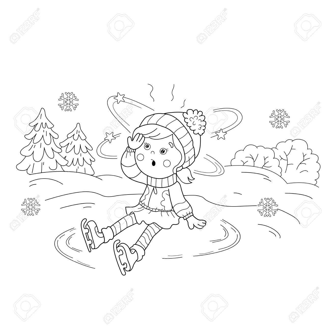 Página Para Colorear Esquema De Patinaje Chica. Deportes De Invierno ...